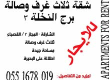 للايجار شقة ثلاث غرف وصالة - برج النخلة 3 / القصباء