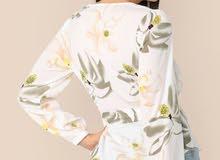 Curved Hem Floral Print Belted Top