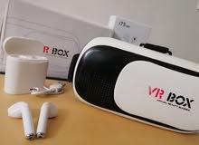 سماعة ايربود بلوتوث + نظارة VR ب 20 الف فقط