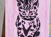 لوحه قطه بحجم 30x25cm