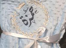 حرامات واطقم بيبي مطرزة بالاسم قطنية او مخمل