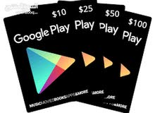 بطاقات جوجل بلاي بجميع الفئات وارخص الاسعار