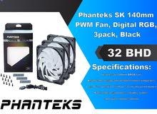 Phanteks SK 140mm PWM Fan, Digital RGB, 3pack, Black