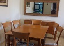 غرفة سفرة 6 أشخاص مع طاولة قابلة للتكبير مع خزانه للسفرة