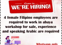 female Filipino employees are required to work in abaya workshop for sale
