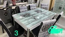 طاولة طعام تركي مع 6 كراسي جديده بالكرتون