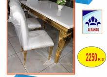 طاولة  طغام  رخام استيل 8 كرسي