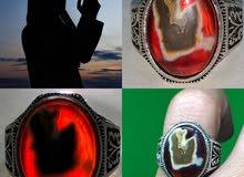 خاتم فضة حجر عقيق يماني مصور  طبيعي