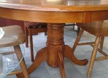 طاولة سفره فاخره خشب زان ثقيل مع اربع مقاعد
