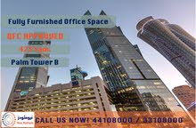 FULLY FURNISHED & QFC APPROVED OFFICE SPACE AT PALM TOWER B - FOR RENT