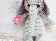 دمية الفيل الكروشية/صنع يدوي