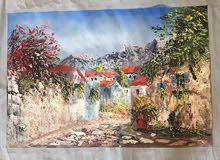 لوحة زيتيه على كانفاس منظر طبيعي لفنان اردني مشهور