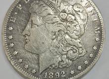 Morgan.us dollars silver very rare ccدولار امريكي نادر جدا فضه عام 1892