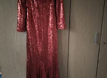فستان سهره احمر لامع مناسب للمحجبات و بنفك الضهر