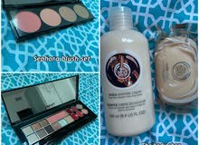 pupa makeup palette - sephora blush set - the body shop shea shower gel & soap