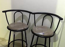 2 kitchen 360 spinner stools with back rest up for sale
