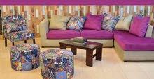 ركنة تحفة من أجود الخامات ركنة كاملة أبعادها (2×3)متر و(1) كرسي + (2) بف