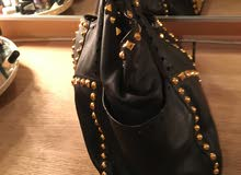 second hand use Jimmy Choo black leather bag