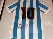 Diego Maradona And Leo Messi signed Jersey تيشيرت الارجنتين مع توقيع