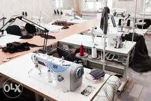 مصنع ملابس بالمكينات والمعدات للايجار او المشاركه