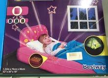 سرير نوم هوائي مخمل وردي مع اضاءه