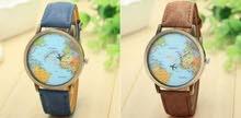 ساعة يد مميزة -الكرة الأرضية مع عقرب طائرة متحرك aeroplane watch