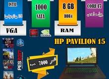 كالزيروو HP PAVILION 15,كورI7, جيل سادس رمات 8 جيجا DDR4 +هارد1000 /كيبورد مضيئه