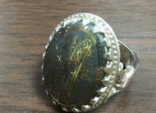 خاتم فضه مع الحجر حدید