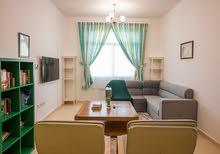دبي ليوان غرفتين وصالة مفروشة سوبر لوكس مع بلكونة - ايجار شهري