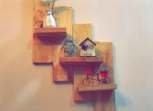 رفوف خشبية صناعة منزلية