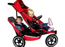 عربة أطفال من فيل و تود لطفل أو طفلين مع حقيبة ومستلزمات سفر كاملة (مستعمل)