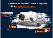 Discount 15% on  4 HD Hikvision Surveillance Cameras  5 megapixels