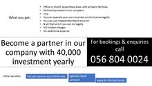 Become a partner in our company with 40,000 investment yearly