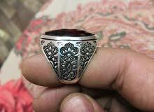 خاتم فضه إيطالي عقيق حجر زركون