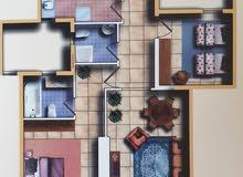 شقة غرفتين (نوم+خدمة)