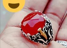 خاتم فضة وعقيق يماني ملكي