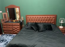 full leather bedroom used 3 months only ( king size bed with mattress )