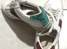 حذاء Gucci ابيض  ، مستعمل مرة واحدة فقط ،مقاس (43-42)