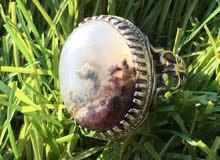 خاتم فضة 925 متوج بحجر طحلبي طبيعي