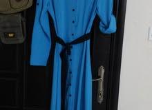 فستان ازرق سبور شيك مع حزام اسود