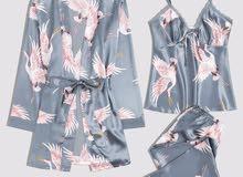 طقم لباس ليلي روب حزام بطباعه تركي 3 قطع
