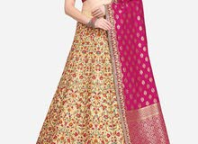 Embroidered Beige Lehenga with semi-stiched