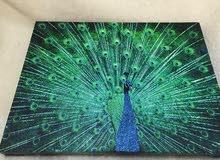 لوحة طاووس جميل يدوي مع إضاءة و ريموت