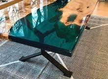 طاولات رخام صناعي ..ايبوكسي مطعم بالخشب