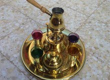 طاقم تقديم قهوة نحاس صافي نقش يدوي