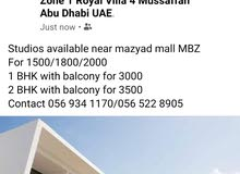 Studios available near mazyad mall MBZ For 1500/1800/2000 1 BHK with balcony fo