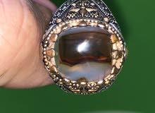 خاتم فضة متوج بحاجة العقيق اليماني مصور  الكعبة الشريفة