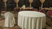 تفصيل شراشف طاولات الافراح مع تخريم على الداير وتفصيل غطاء كراسي الكروم الصالات