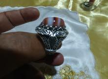 خاتم فضه عقيق جزع يمنى نادر