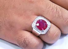 خاتم فضة سويسرى ياقوت ف الماس
